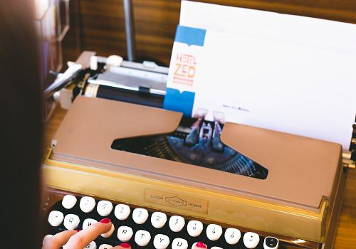 Vintage lobby typewriters
